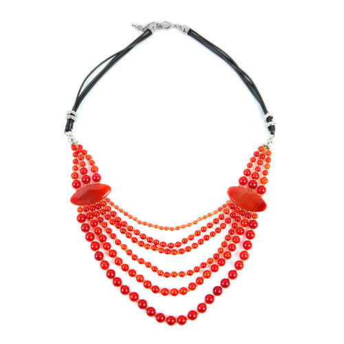 Red Agate (Rnd), Simulated Champagne Diamond BIB Necklace (Size 28 and 2.5 inch Extender)  675.000 Ct.
