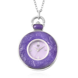 Purple Jade Swiss Movement Watch with Chain (Size 32) in Rhodium Overlay Sterling Silver and Stainle