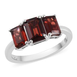 Mozambique Garnet (Oct) Three Stone Ring in Platinum Overlay Sterling Silver 2.75 Ct.