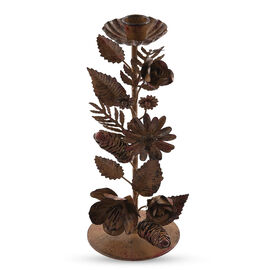 Home Decor - Handcrafted Decorative Floral and Leaves Pattern Candle Single Head in Bronze Finish (S