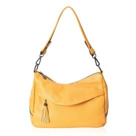 100% Genuine Super Soft Leather Shoulder Bag with External Zipper Pockets and Removable Shoulder Str