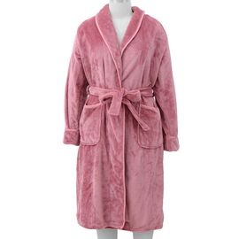 Microfibre Soft Flannel Shawl Collar Dressing Gown with Pocket (Size 65x115 Cm) - Dusky Pink