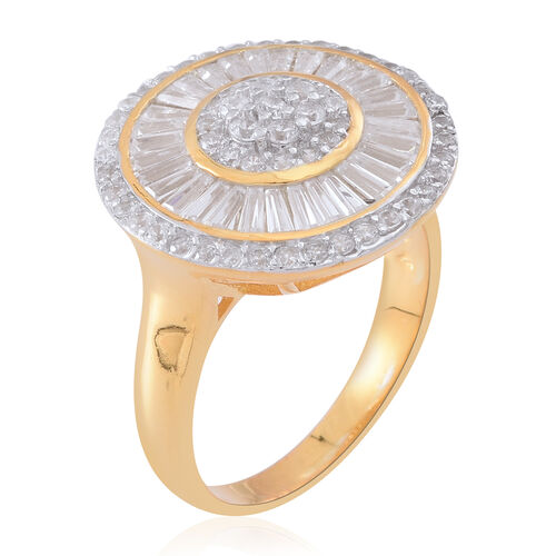 ELANZA Simulated Diamond (Rnd) Ring in 14K Gold Overlay Sterling Silver