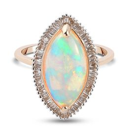 9K Gold Ethiopian Welo Opal (Mrq 16x8mm) Diamond Halo Ring 3.06 Ct.