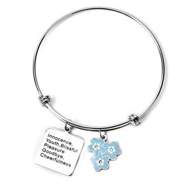 Simulated Diamond Enamelled Bangle (Size 7-8) with charm in Stainless Steel