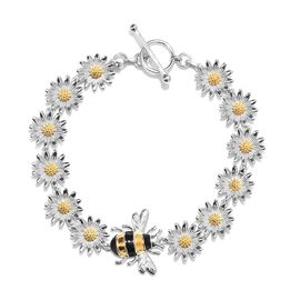 Platinum and Yellow Gold Overlay Sterling Silver Floral Bee Bracelet (Size 7.5), Silver wt 13.30 Gms