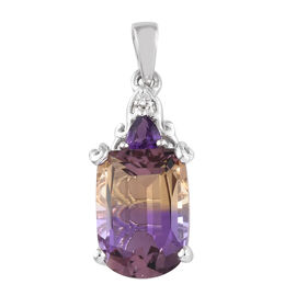 AA  Anahi Ametrine, Amethyst and Natural White Cambodian Zircon Pendant in Platinum Overlay Sterling