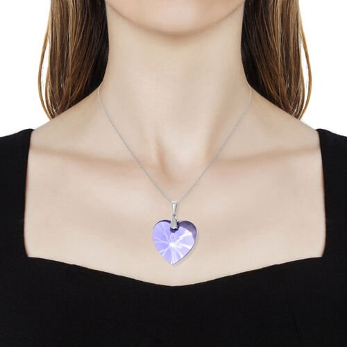 J Francis -Crystal from Swarovski Violet Colour Crystal (Hrt 40 mm) Pendant With Chain (Size 30) in Platinum Overlay Sterling Silver, Silver wt 9.00 Gms.