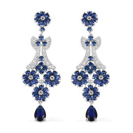 Simulated Sapphire and Simulated Diamond Chandelier Earrings in Silver Tone