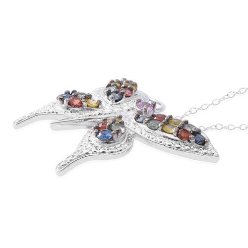 Designer Inspired-Rainbow Sapphire Butterfly Pendant with Chain in Rhodium Plated Sterling Silver 2.750 Ct. Silver wt 7.5 Gms.