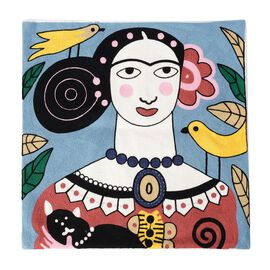 Frieda Kahlo Full Embroidery Cushion Cover (43x43 cm) Blue
