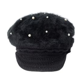 Faux Fur Simulated Pearl Woven Design Hat (Size 50 Cm) - Black