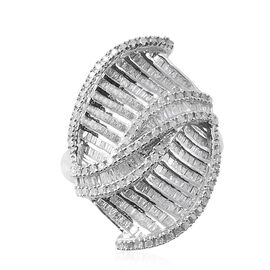 Diamond (Rnd and Bgt) Ring in Platinum Overlay Sterling Silver 1.001 Ct, Silver wt 6.20 Gms