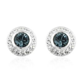 J Francis Crystal from Swarovski - Indian Sapphire Crystal (Rnd), White Crystal Stud Earrings (with Push Back) in Sterling Silver