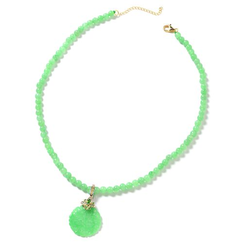 Green Jade (Rnd), Russian Diopsode Necklace with Pendant (Size 18) in Rhodium and Yellow Gold Platin
