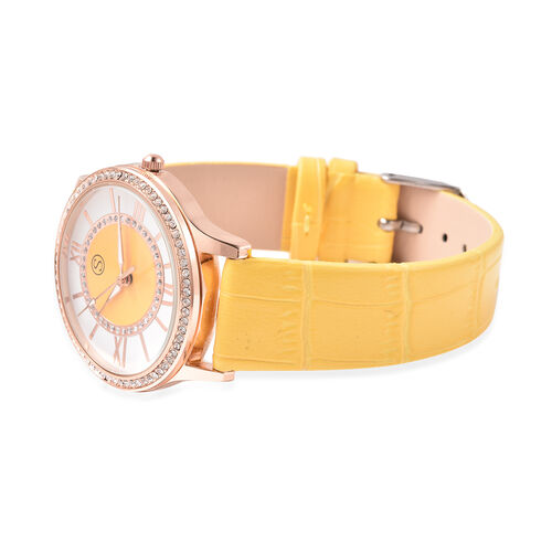 2 Piece Set - STRADA Japanese Movement White Austrian Crystal Studded Watch with Yellow Strap and Yellow Tigers Eye (96.00 Ct.) Beaded Bracelet in Dual Tone
