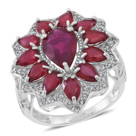Limited Edition Designer Inspired African Ruby (Pear 4.00 Ct), White Zircon Ring (Size N) in Rhodium Plated S
