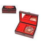 2 Layer Peony Pattern Japanese Artwork Jewellery Box with Inside Mirror and Removable Tray (Size 21x