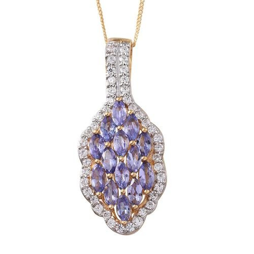 Tanzanite (Mrq), Simulated Diamond Pendant With Chain in 14K Gold Overlay Sterling Silver 3.500 Ct.