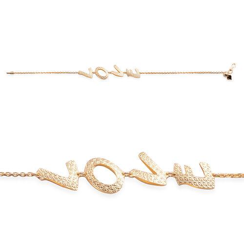 Close Out Deal 14K Gold Overlay Sterling Silver Adjustable Love Bracelet (Size 8), Silver wt 3.80 Gms.