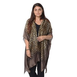 Yellow and Black Leopard Pattern Kimono (Size 83x90 Cm) - Brown