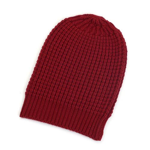 Maroon Colour Cap (Size 30x20 Cm) and Muffler (Size 150x25 Cm)