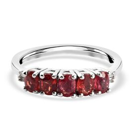 Red Sapphire and Diamond Ring in Platinum Overlay Sterling Silver 1.00 Ct.