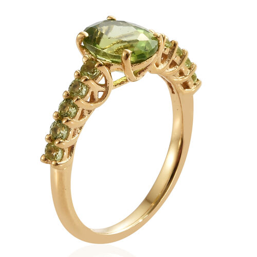 Hebei Peridot (Ovl) Ring in 14K Gold Overlay Sterling Silver