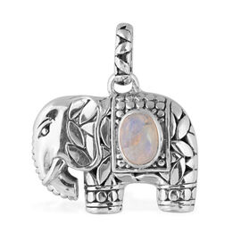 Bali Legacy Collection Rainbow Moonstone (Ovl) Elephant Pendant in Sterling Silver 1.626 Ct, Silver wt 6.30 Gms.