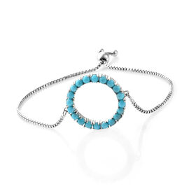 Arizona Sleeping Beauty Turquoise (Rnd) Adjustable Bracelet (Size 7.5) in Platinum Overlay Sterling Silver 2.500 Ct, Silver wt 6.00 Gms