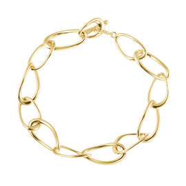 LucyQ Fluid Collection - Yellow Gold Overlay Sterling Silver Bracelet (Size 8) with T Bar Lock