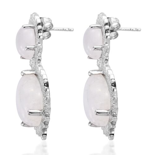 Designer Inspired-Sri Lankan Rainbow Moonstone (Pear) Tear Drop Earrings (with Push Back) in Platinum Overlay Sterling Silver 17.250 Ct. Silver wt 7.51 Gms.