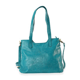 100% Genuine Leather Tote Bag with Detachable Strap and Zipper Closure (Size 32x26x11 Cm) - Teal