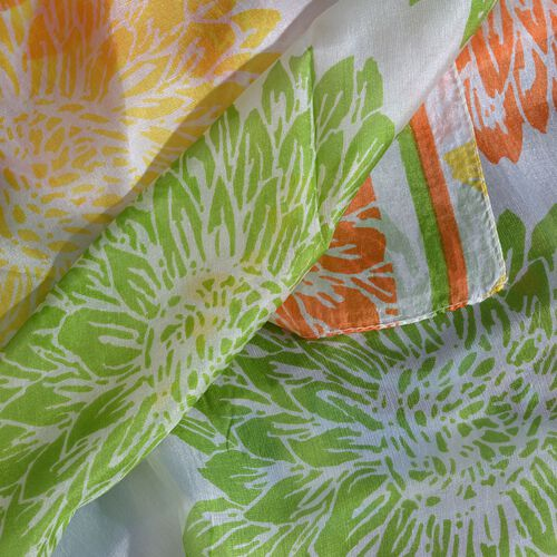 100% Mulberry Silk Green, White and Multi Colour Handscreen Floral Printed Scarf (Size 200X180 Cm)