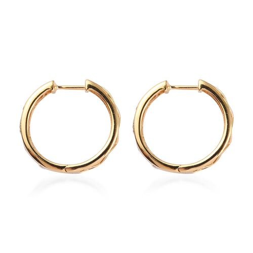 J Francis - 14K Gold Overlay Sterling Silver Hoop Earrings (with Clasp) Made with SWAROVSKI ZIRCONIA 2.00 Ct, Silver wt 8.00 Gms