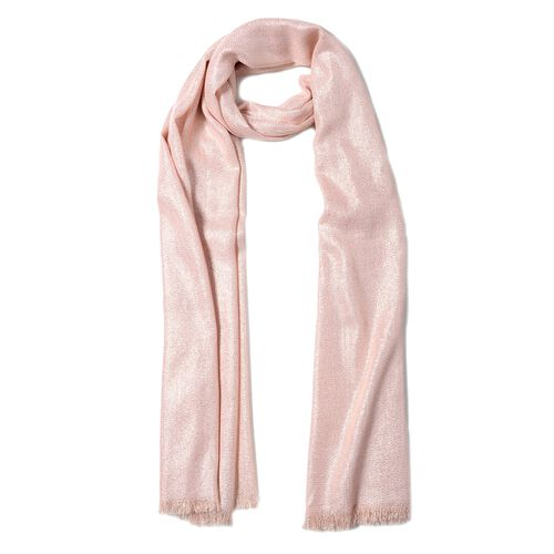 Italian Designer Inspired- Shining Pink and Silver Colour Shawl (Size 204x100 Cm)