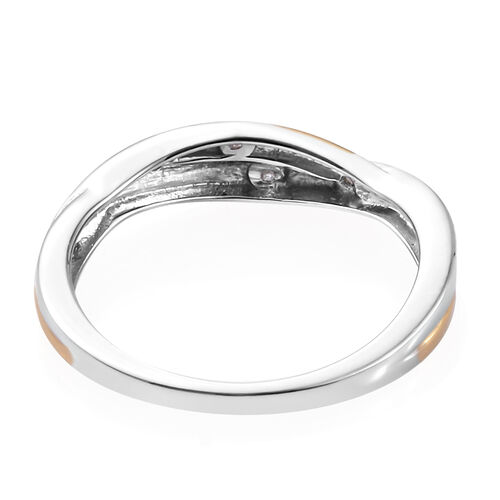 Diamond (Round Flush Set) 2 Tone Twisted Band Ring in Platinum and Gold Overlay Sterling Silver
