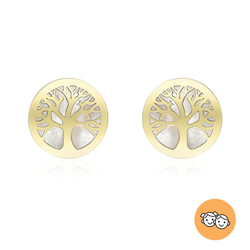 9K Yellow Gold Mother of Pearl Tree-of-Life Stud Earrings (with Push Back)