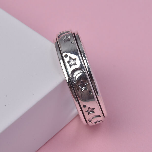 Personalised Engravable Artisan Crafted - Sun & Moon Spinner Sterling Silver Ring