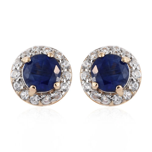 9K Yellow Gold AA Himalayan Kyanite (Rnd), Natural White Cambodian Zircon Earrings (with Push Back) 1.000 Ct