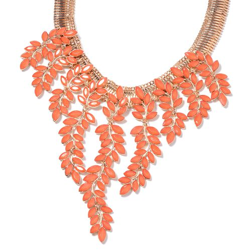 Simulated Red Coral (Mrq) Leaf Waterfall Necklace (Size 17 with 4 inch Extender) in Yellow Gold Tone