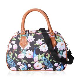 Water Resistant Flower and Peacock Pattern Tote Bag with Removable Shoulder Strap(34.5x23x13.5 Cm)