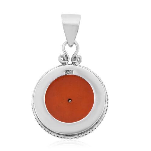 Royal Bali Collection - Orange Jade Garuda Pendant in Sterling Silver 5.00 Ct.