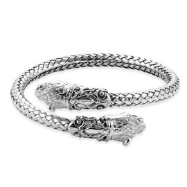 Royal Bali Collection - Sterling Silver Tiger Head Cuff Bangle (Size 7.5), Silver wt 50.62 Gms
