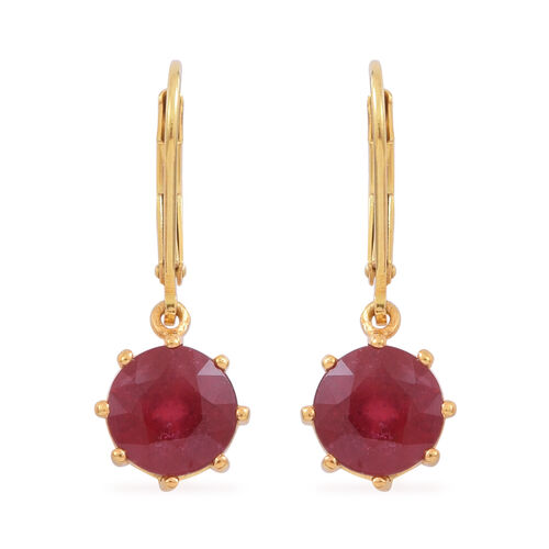 African Ruby (Rnd) Lever Back Earrings in 14K Gold Overlay Sterling Silver 5.000 Ct.