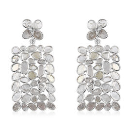Artisan Crafted Polki Diamond Earrings (with Push Back) in Platinum Overlay Sterling Silver 6.00 Ct,