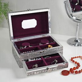 3D Embossed Collection Handcrafted Flower Design Oxidised Jewellery Box with Drawer Chest (Size 22.8