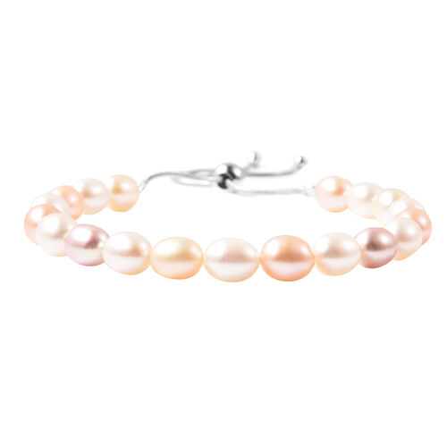 Multi Colour Freshwater Pearl Adjustable Bracelet (Size 6-9.5) in Sterling Silver