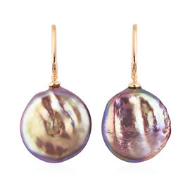 Extremely Rare-Natural Multi Colour Keshi Pearl Drop Earrings (with Push Back) in Yellow Gold Overla
