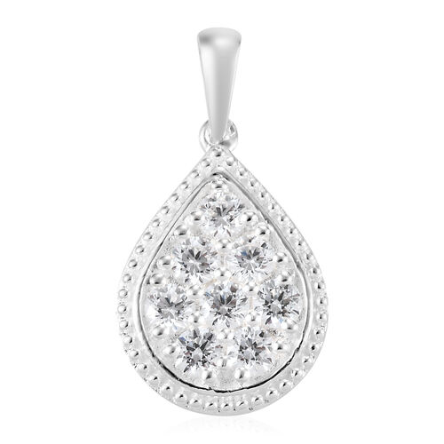 J Francis Sterling Silver Cluster Pendant Made with SWAROVSKI ZIRCONIA